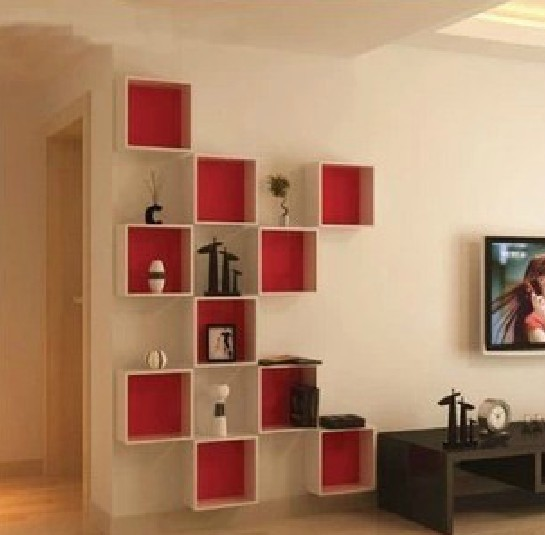 Korean tv wall hanging wall cabinet shelving creative home - Support tv mural ikea ...