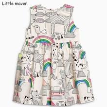 Little maven 2018 nieuwe zomer baby meisjes merkkleding kinderen katoenen handgeschilderde dierenprint mouwloze jurken S0297