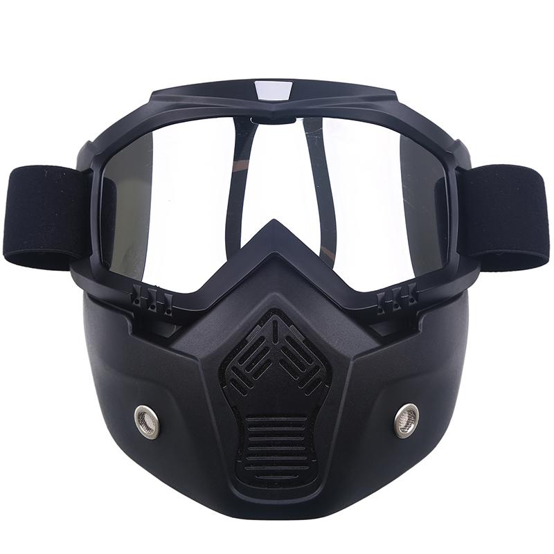 Prix pour Moto visage masque masque anti-poussière et amovible motocross lunettes & bouche filtre pour café racer modulaire open face moto vintage casques