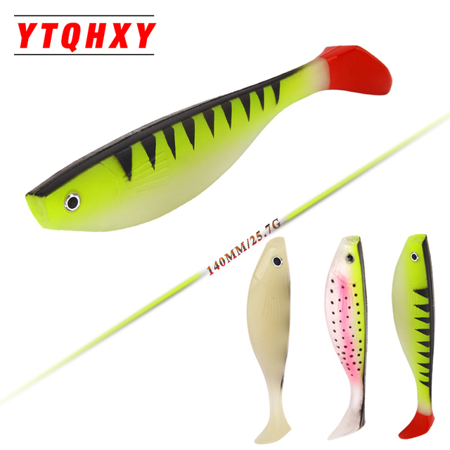 YTQHXY Saltwater Fishing Lure Shad Soft Bait 2pcs/lot 140mm 25 7g Iscas  Artificiais Fishing Tackle Carp Silicone Baits YE 319-in Fishing Lures from