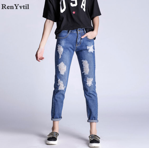 RenYvtil New Arrival Cotton Jeans Women Casual Loose Pants Ripped Hole Denim Jeans Femme Pencil Pants Mujer Vintage Plus Size autumn new fashion cotton jeans women loose low waist washed vintage big hole ripped long denim pencil pants casual girl pants