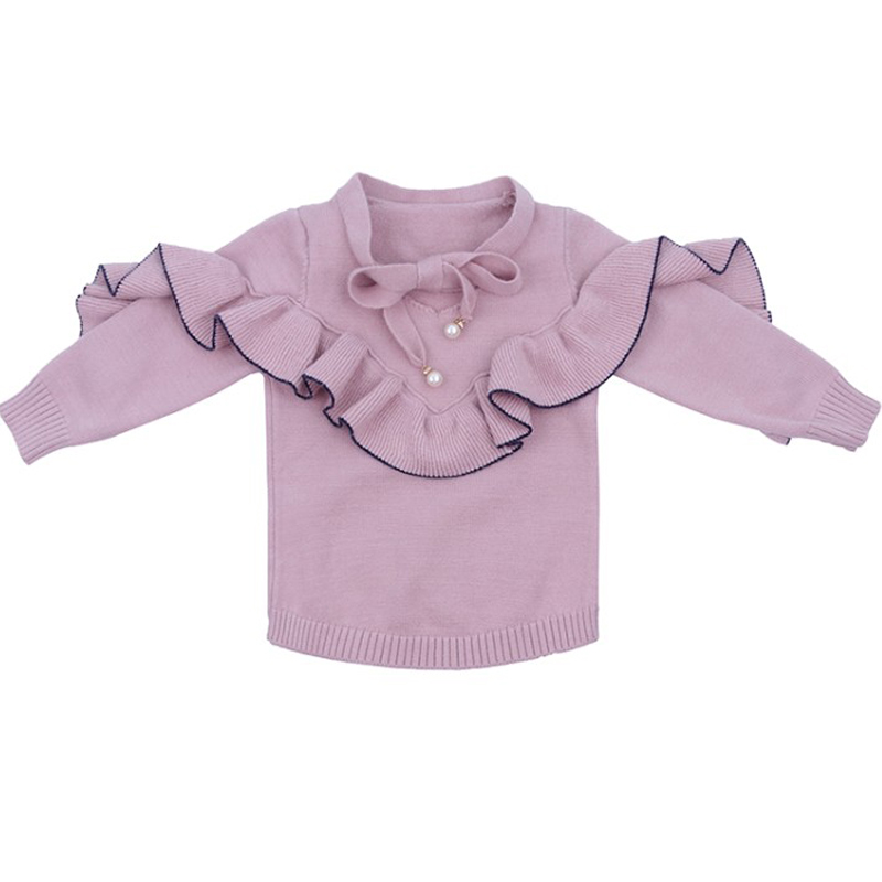 2018 New Girls Sweaters Children Pullovers Bow Neckline Princess Lotus Leaf Knitted Sweater Sweet Clothing Baby Girls Sweater цена