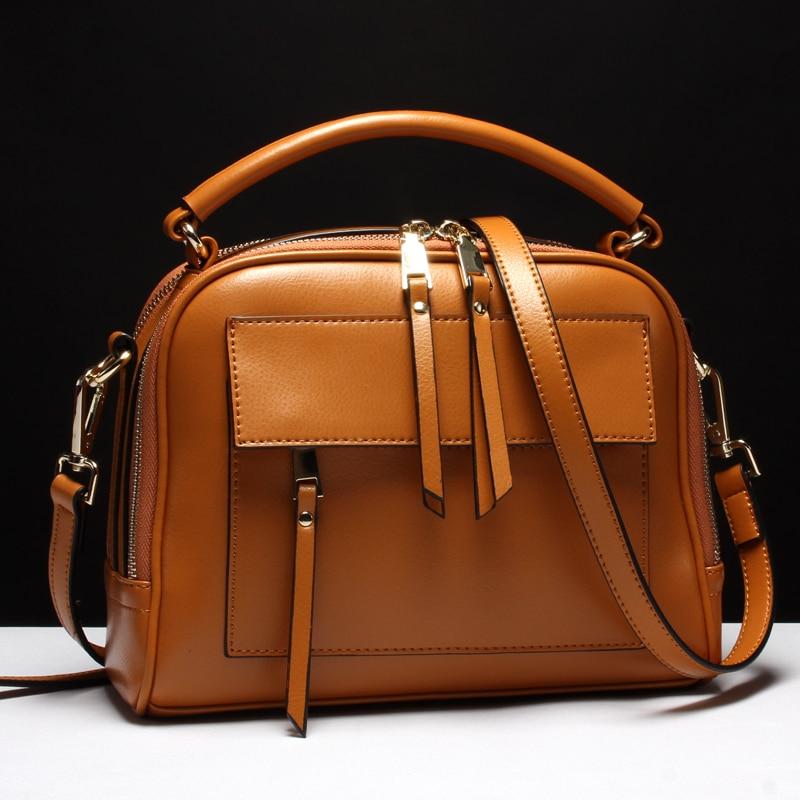 Women Messenger Bags Genuine Leather Bags Women Real Leather Casual Handbags Crossbody Bags Vintage Zipper Ladies Bag Bolsas