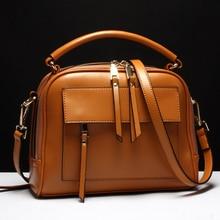 Frauen Messenger Taschen Aus Echtem Leder Taschen Frauen Echt Leder Beiläufige Handtaschen Crossbody Taschen Vintage Reißverschluss Damen Tasche Bolsas