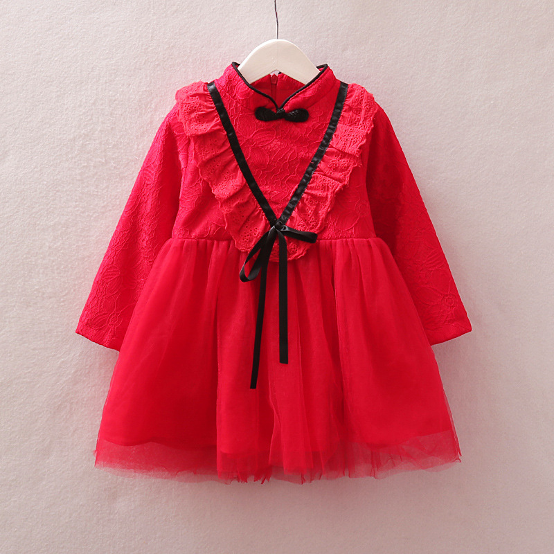 2018 new girls lace autumn and winter cheongsam Chinese style lace lace cheongsam dress children autumn and winter dress see thru mini lace dress