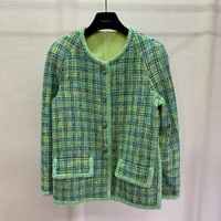 Spring and summer new fashion tweed green jacket long sleeved round collar women's coat vintage jacket