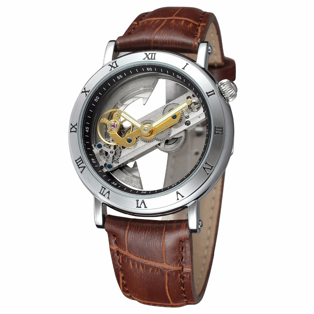 New Luxury Transparent TourbIiion Dial Silver Case Roman Number Skeleton Brown Band Automatic Self Wind Mechanical Mens Watch luxury women hand winding mechanical wrist watch genuine leather band strap dress wind up skeleton roman number stylish