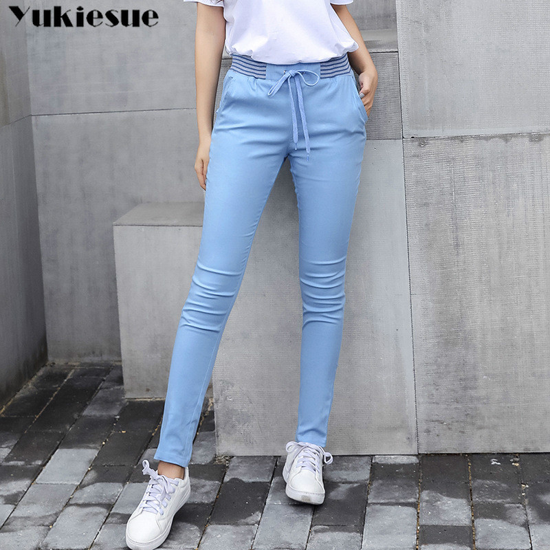 Streetwear Harem Pants Capri Trousers Women Linen Leggings Summer 2019 Lady Casual Plus Size Stretch Long Slim Pantalon Femme(China)