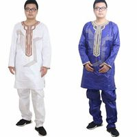 H D AFRICAN DRESSES FOR Men African Bazin Riche Dresses Men Embroidery Design Top With Pants