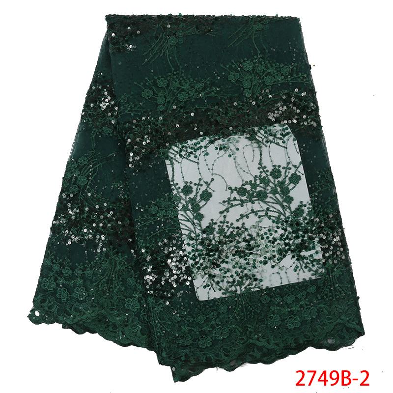 High Quality French Net Lace Fabric 2019 Latest  African Embroided Tulle Lace Fabrics With Sequins For Nigerian Dress KS2749B-2