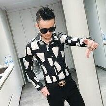 Рубашка мужская приталенная с длинным рукавом, брендовая сорочка с индивидуальным принтом, Классическая Повседневная одежда для ночного клуба, смокинг