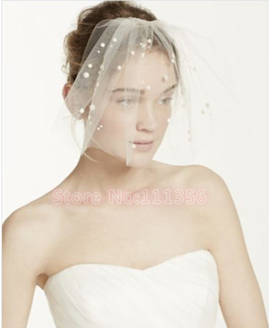 Ivory White Mini Tulle Veil With Fake Pearls Beading Face Cage Style Wedding Veil