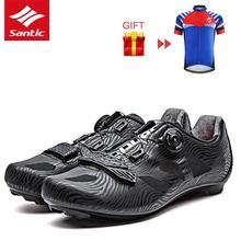 Santic Road Cycling Shoes 2018 Men Outdoor Professional Road Bike Shoes TPU Breathable Athletic Self-locking Bicycle Shoes