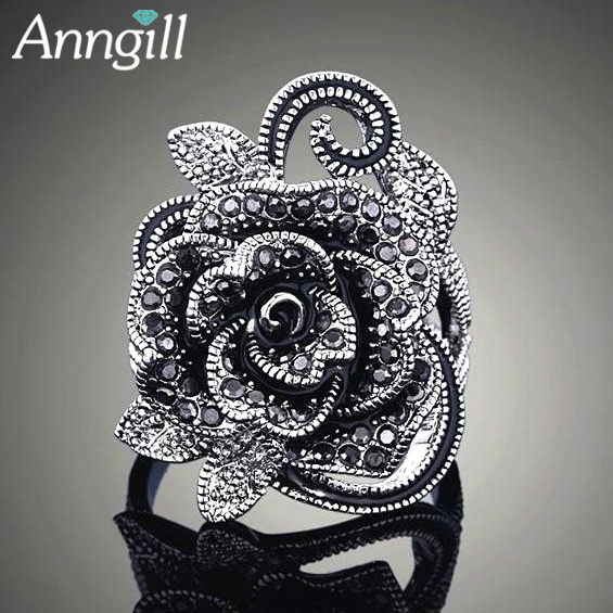 New Design Retro Black Crystal Rose Flower Rings For Women Vintage Antique Silver Color Wedding Jewelry Party Rings Anti Allergy