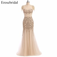 Mermaid Heavy Hand Made Evening Dresses with Beading Cap Sleeves Evening Party Gowns Sleeveless Beading vestido de festa ES231
