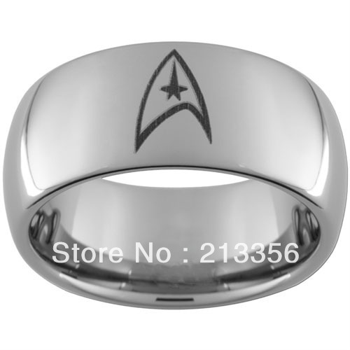 10PCS/LOT FREE SHIPPING!USA WHOLESALES CHEAP PRICE 8MM WOMEN&MENS HIS/HER SILVER DOME STAR TREK TUNGSTEN CARBIDE WEDDING RING
