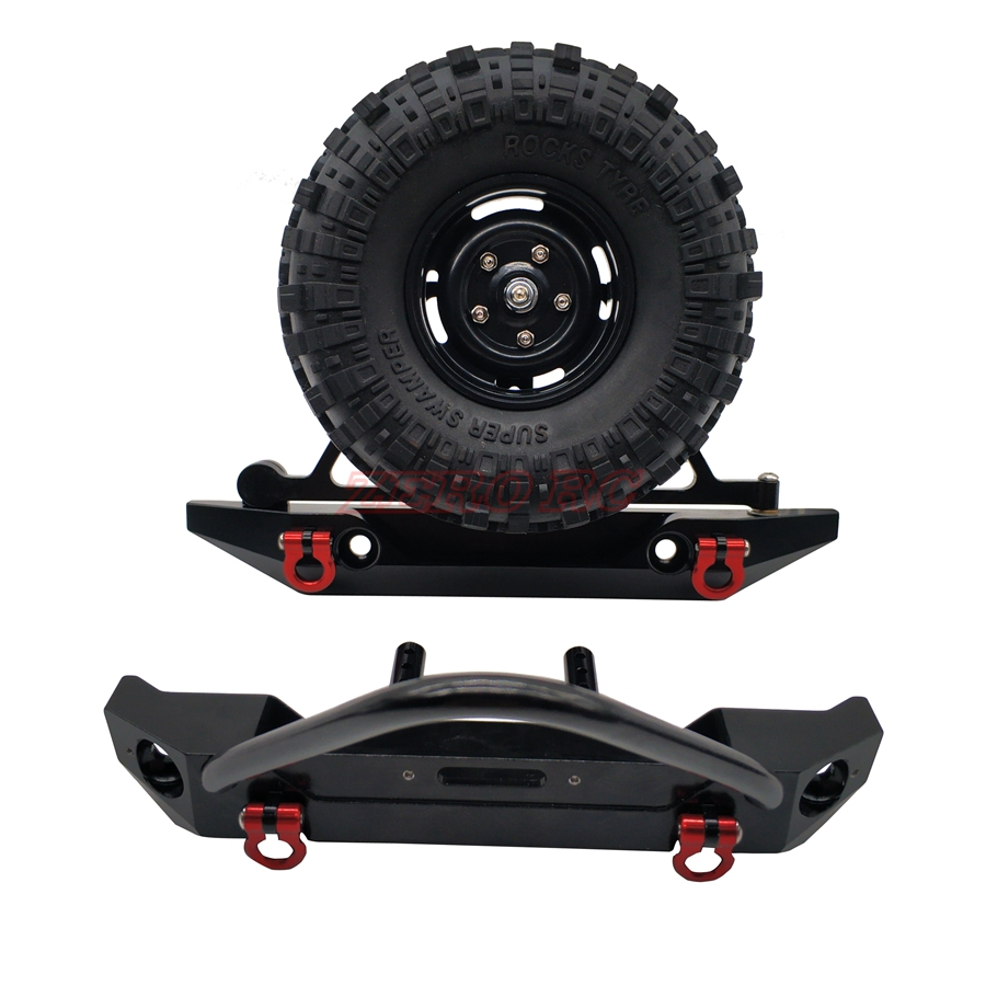Aluminum Front Rear Bumper Bull Bar W/ Spare Tire Carrier For 1:10 Axial SCX10 JEEP SCX10 II RC Car(China)