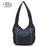 P P X Fashion Rivets Women Bags European American Style Large Handbag High Quality Canvas Female