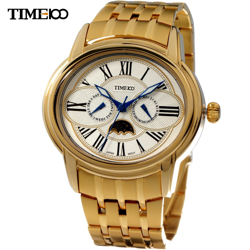 Time100 Men Quartz Watch Gold Stainless Steel Cool Owl Eyes Moon 50M Water Resistant Wrist Watches For Men relogio masculino islam between jihad and terrorism
