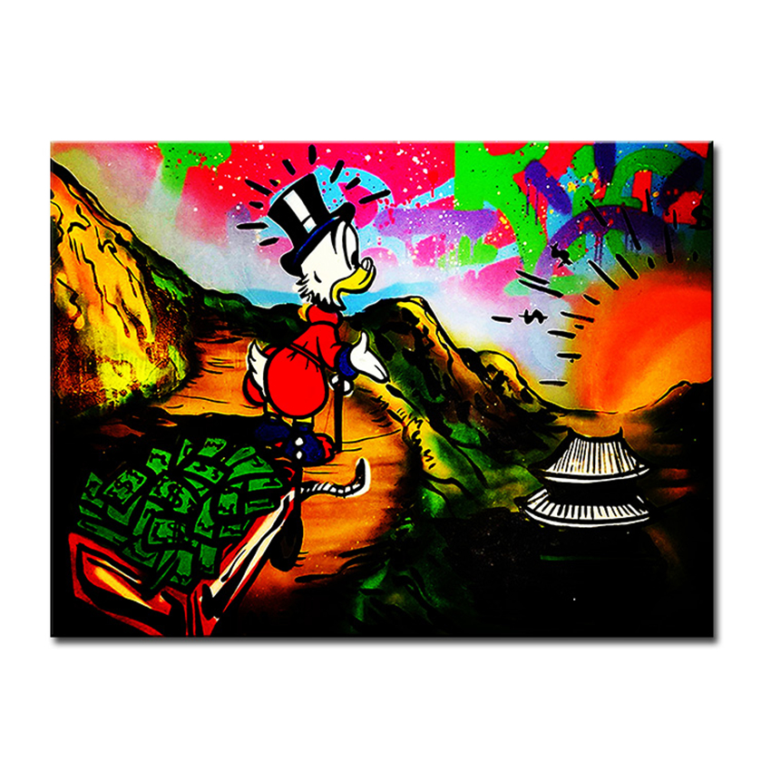 2016 sun Alec monopoly Graffiti mr brainwashart print canvas for wall art decoration oil painting decor living room pictures