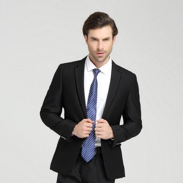 Nueva Llegada 2016 Hombres Traje de Marca de Moda de Color Sólido Ropa Casual Chaqueta Delgada de Negocios Hombres Banquete Novio Trajes (chaqueta + Pantalones)