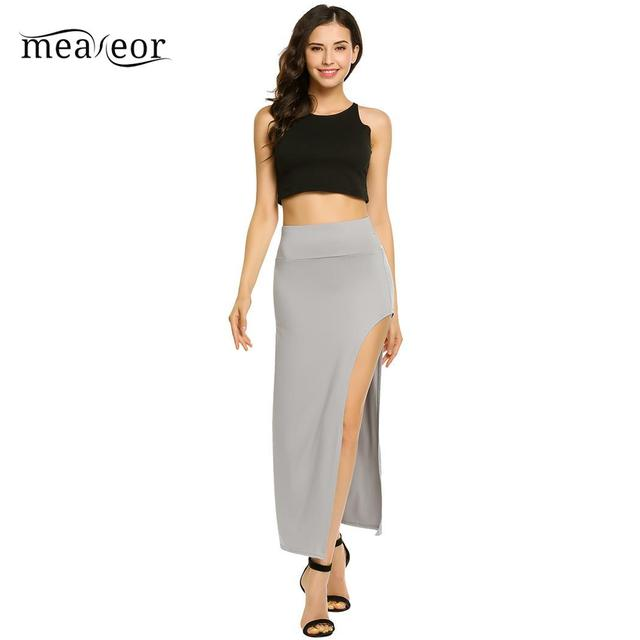 None Package High Elastic Waist Women Hip Full Long Pencil Skirt Asymmetric Backless 4