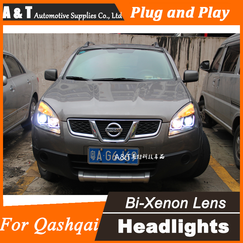 Car Styling for Nissan Qashqai LED Headlight assembly Qashqai Angel Eye DRL Lens Double Beam H7 with hid kit 2 pcs. headlight for kia k2 rio 2015 including angel eye demon eye drl turn light projector lens hid high low beam assembly