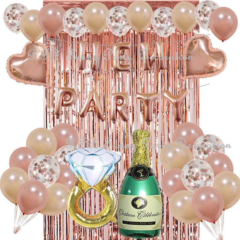 Bachelorette Party Decorations Kit Rose Gold Balloons Hen Party Wedding Anniversary Supplies Champagne Bottle Ring Balloon