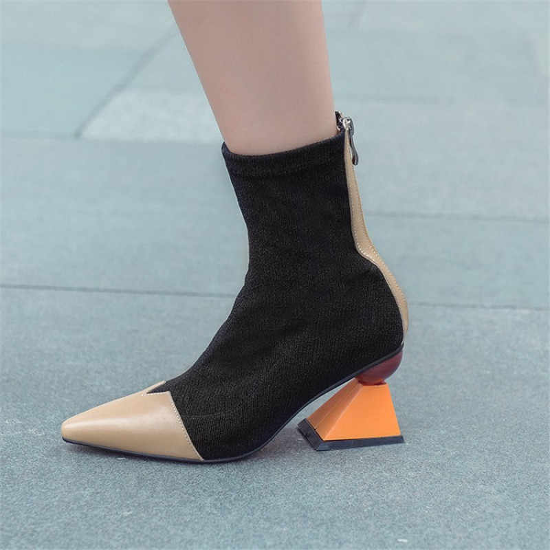 Garip yüksek topuk ayakkabı kadın patchwork Sivri Burun kısa çizmeler 2018 Trigonometrik yuvarlak top dekor yarım çizmeler Botas Mujer
