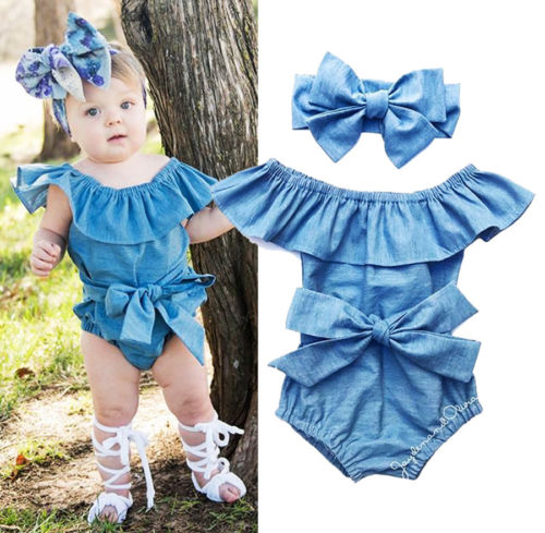 0-24 M Baby Denim Romper Kids Meisjes Blauw Denim Baby Meisjes Front Strik Ruches Jumpsuit Peuter Zomer Outfits Kleding Goederen Van Hoge Kwaliteit