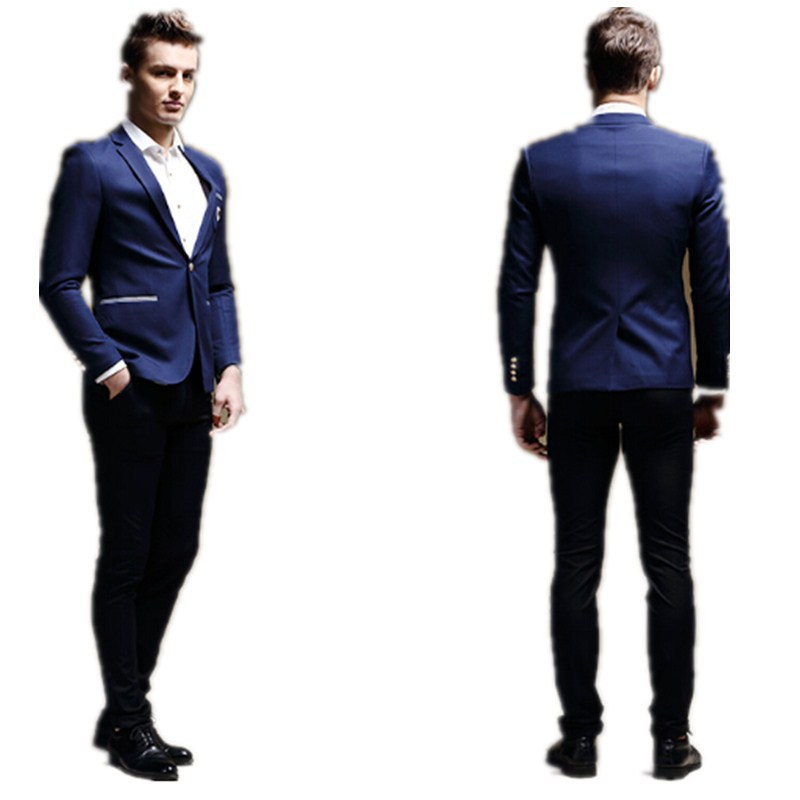 Fashion Mens Leisure Suit Young Man One Buttons Birthday Party Formal Dress Suits Occasions Jacket Pants