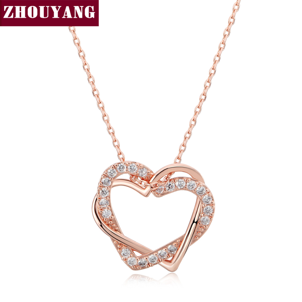 ZHOUYANG Top Quality Heart to Heart Rose Gold Color Pendant s