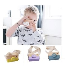 2018 NEW Cute Wooden Toy Camera Baby Kids Hanging Camera Photography Prop Decoration Children Educational Toy Birthday Gifts(China)