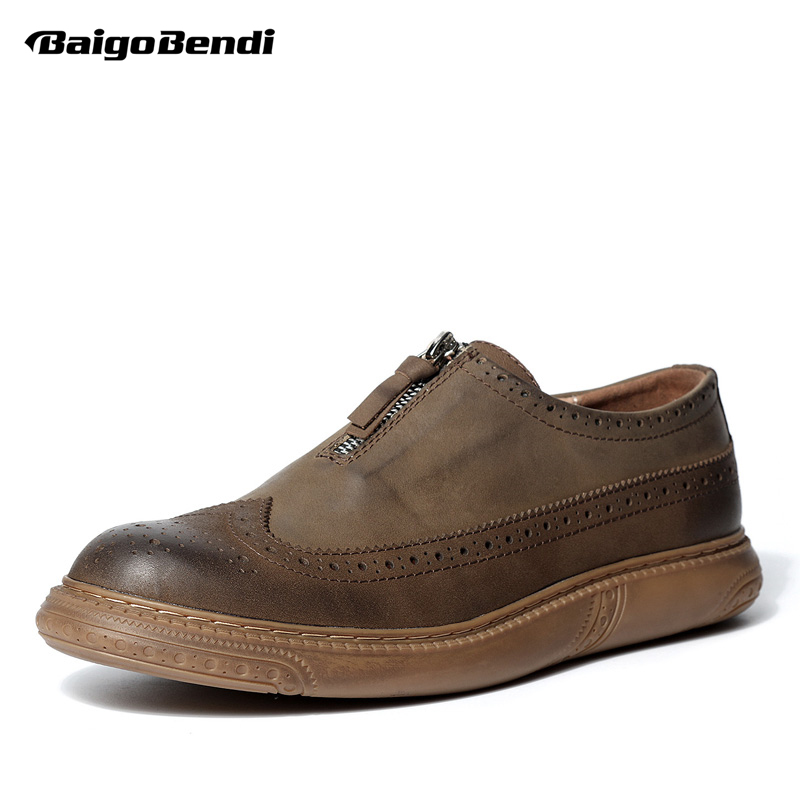 British Style Men Real Leather Brouge Shoes Boys New Spring  Zip Retro Casual Shoes Craved Wing Tips Flat Man Oxfords