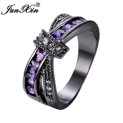 Junxin female purple cross ring fashion white black gold filled jewelry vintage wedding rings for women.jpg 250x250