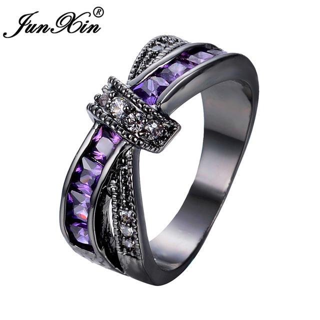 JUNXIN Female Purple Cross Ring Fashion White & Black Gold Filled Jewelry Vintage Wedding Rings For Women Birthday Stone Gifts