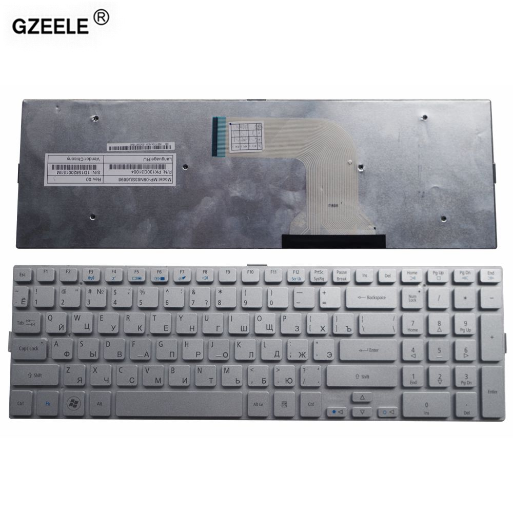 GZEELE new laptop keyboard for Acer Aspire 8950 8950G 5943G 5943 5950 5950G 8943 8943G series SILVER RU Russian replace keyboard pitatel bt 086 аккумулятор для ноутбуков acer aspire 5943g 5950g 8943g 8950g