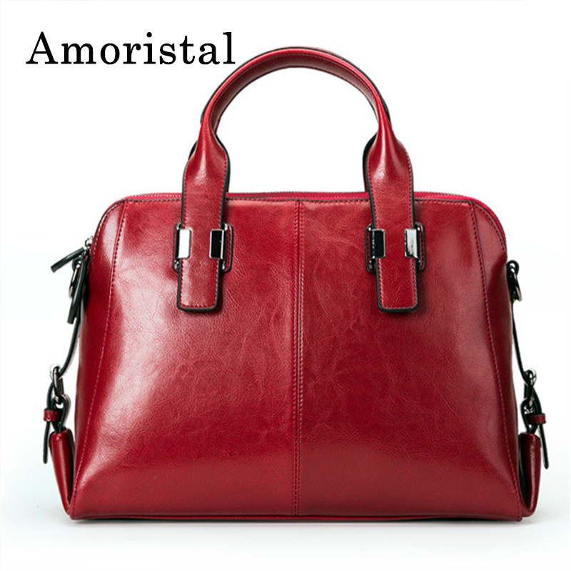Red Real Cow Leather Ladies Handbags Women Bags Genuine Leather Totes Messenger Bags Hign Quality Designer Luxury Brand Bag B153