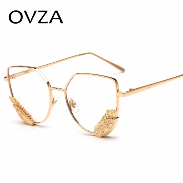 927eadd259 OVZA Brand Designer Fashion Wings Optical Frame Women Metal Glasses Frames  Retro Cat Eye Eyeglasses Transparent