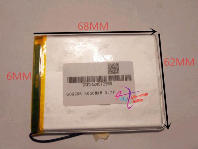 best battery brand Size 606268 3.7V 3050mah Lithium polymer Battery with Protection Board For Tablet PCs PDA Power Bank