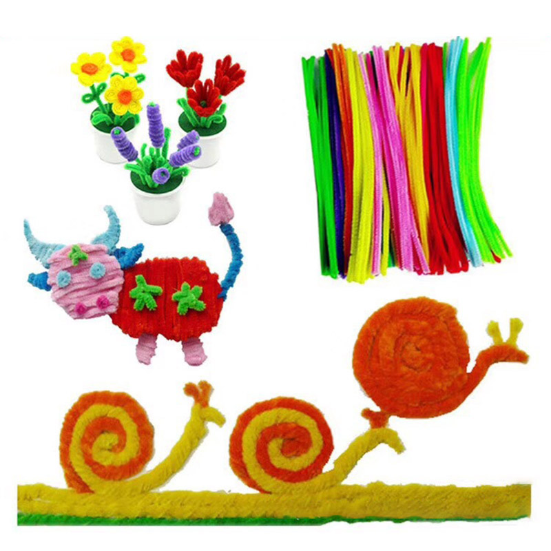 Toys 100Pcs Novelty Toys DIY Handmade Educational Plush Shilly Stick Materials Toys Art Craft For Children