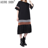 AZURE SHEN 2018 Spring Summer Fashion Patchwork Color Stripe Pleated Lady Dress Loose Long Short