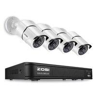 ZOSI 4CH Полный 1080 P видеокамера охранной системы, 4 белый всепогодный 1920TVL 2.0MP камеры скрытого видеонаблюдения s, 4CH 1080 HD-TVI DVR