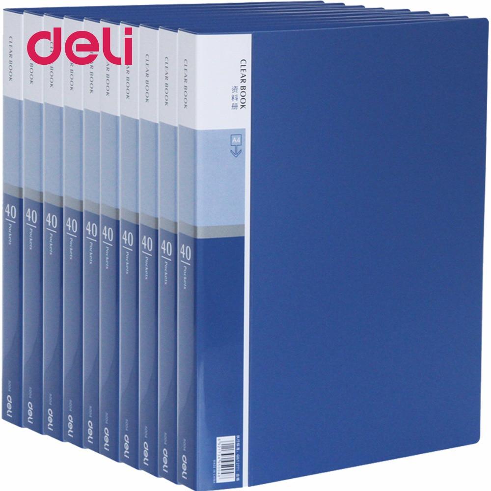 Deli 1pcs File Holder Loose-leaf Folder 40/60 Pages A4 Data Bag Document Bag Multi-page Multi-layer Folder Information Booklet