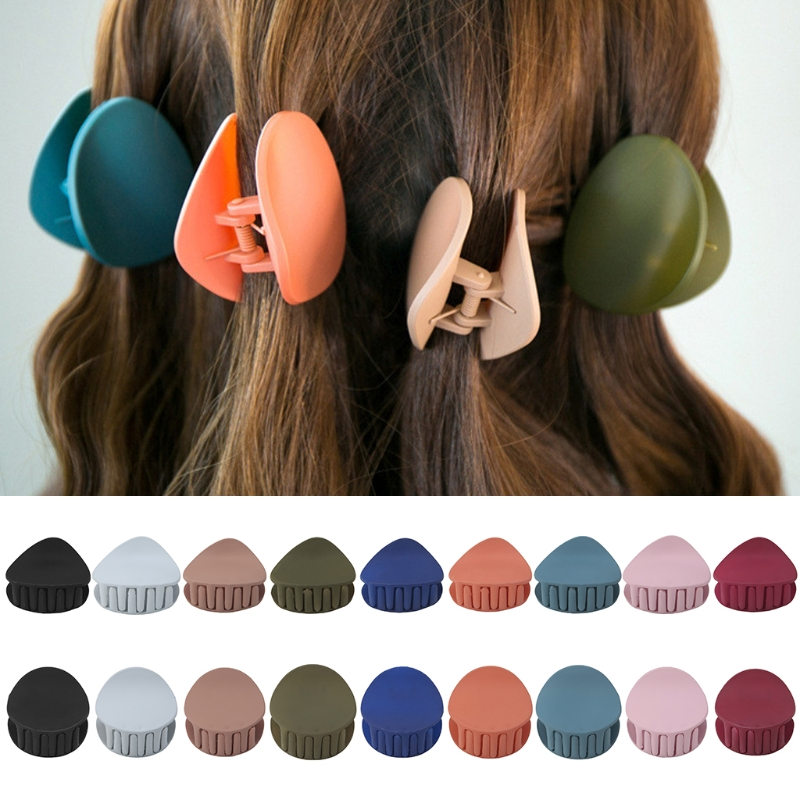 Women New Acrylic Hair Clip Hairpins Crab Claw Girls Accessories Round Triangle   Headwear   Fashion Solid Clips
