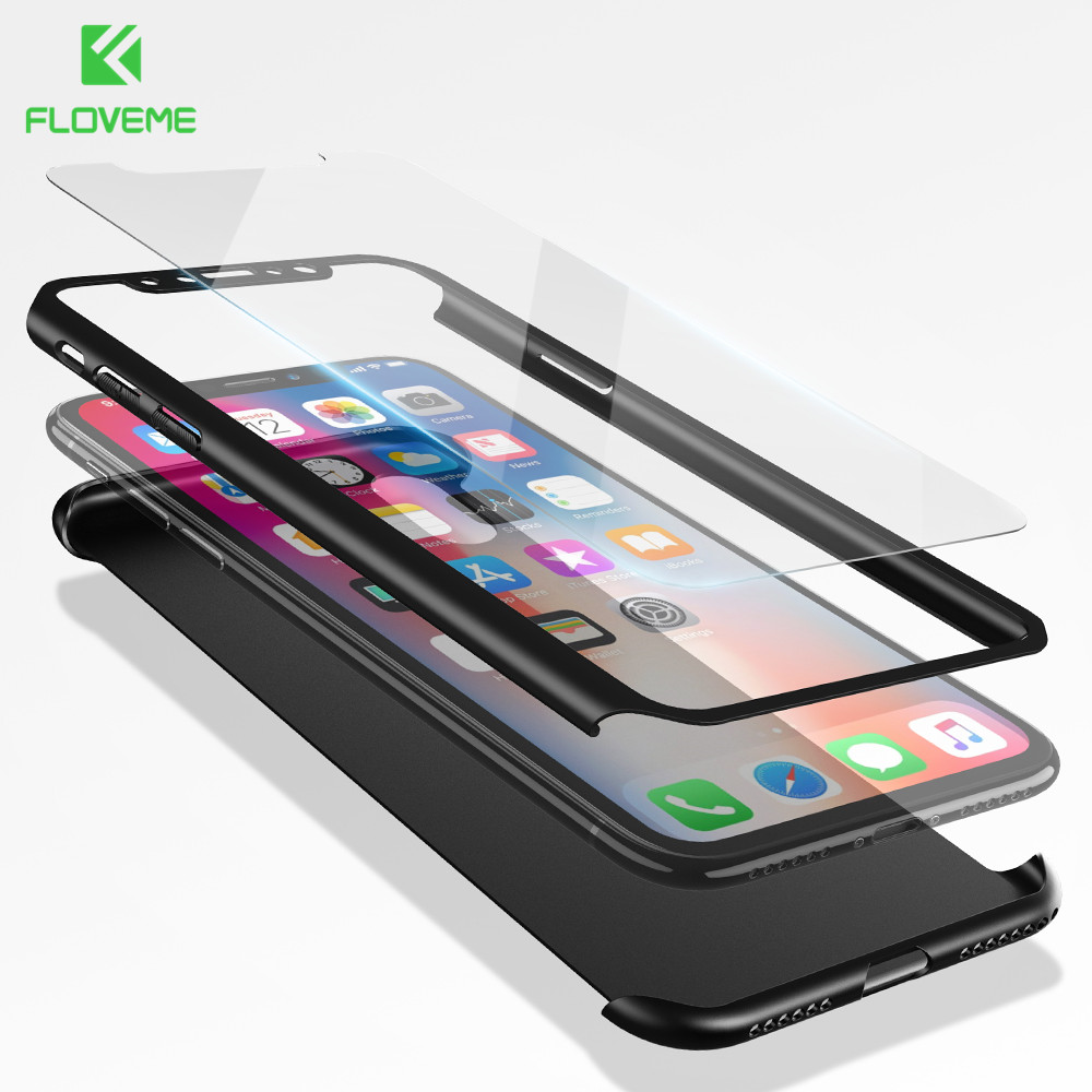 FLOVEME 360 Protective Case For iPhone X 10 6 6S 7 8 Plus Cases Tempered Glass Back Full Cover For iPhone 8 7 6 6S Plus 5 5S SE
