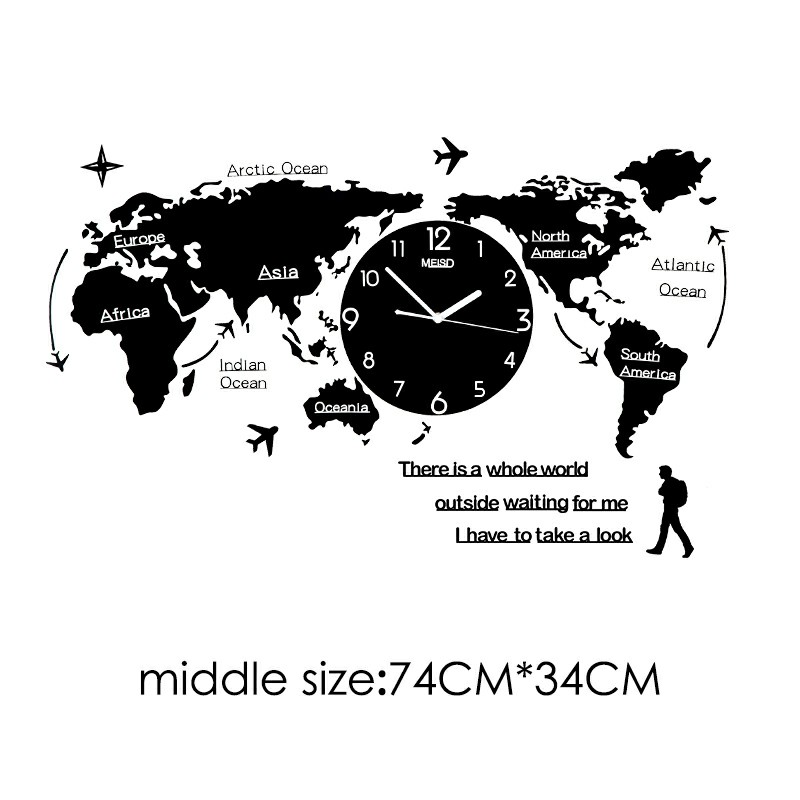 Large World Map Wall Clocks Modern Design 3D Digital Glow In Dark Hanging Silent Clock Ultra Quiet Acrylic Unique Watch Clocks in Wall Clocks from Home Garden