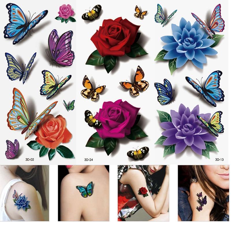3Pcs Women 3D Temporary Tattoos Flower Rose Waterproof Fake Tattoo Stickers On The Hand Beauty Makeup Tattoo Sleeve