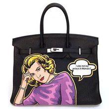 2016 fashion design Real leather Black lady handbag Large capacity bag 35 40 50CM  Painting Graffiti Handbag gold hardware