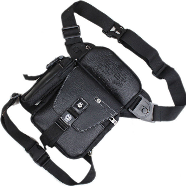 Men Oxford PU Leather Leg Bag Hip Drop Motorcycle Riding Crossbody Messenger Shoulder Multi-purpose Belt Bum Fanny Waist Pack